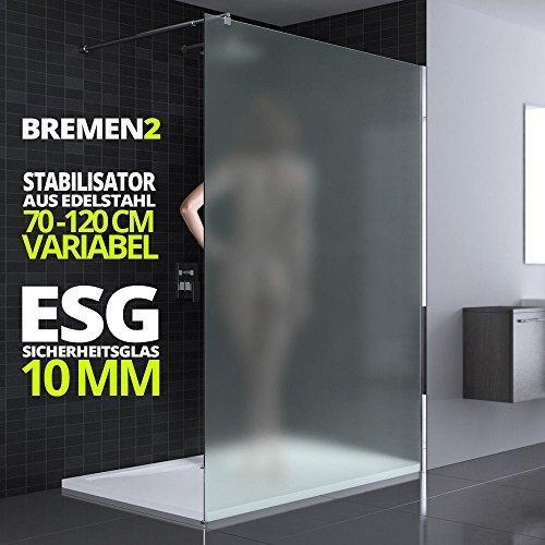 100x200 cm Luxus Duschwand aus Echtglas Bremen2VS, Stabilisator 4-eckig, 10mm ESG Sicherheitsglas Milchglas, inkl. Nanobeschichtung