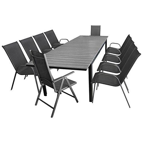 multistore 2002 11tlg gartengarnitur gartenm bel set sitzgarnitur sitzgruppe aluminium polywood. Black Bedroom Furniture Sets. Home Design Ideas