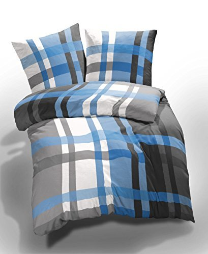 m bel24 2 tlg etrea microfaser seersucker bettwsche urban check karo kariert gestreift blau grau. Black Bedroom Furniture Sets. Home Design Ideas