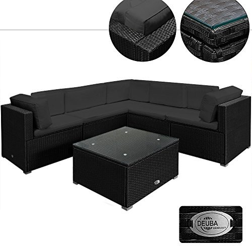 deuba poly rattan xxl lounge set schwarz 15cm dicke r ckenkissen 7cm dicke sitzauflagen. Black Bedroom Furniture Sets. Home Design Ideas