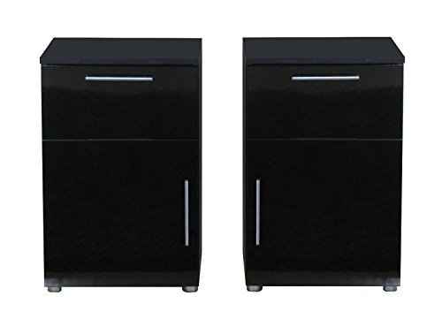 2x nachttisch infiniti nachtschrank nachtkonsole nachtkommode schwarz hochglanz m bel24 shop. Black Bedroom Furniture Sets. Home Design Ideas
