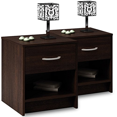 deuba nachttisch nachtschrank 2er set 50cm hoch bequem erreichbar mit 1 schublade mit. Black Bedroom Furniture Sets. Home Design Ideas