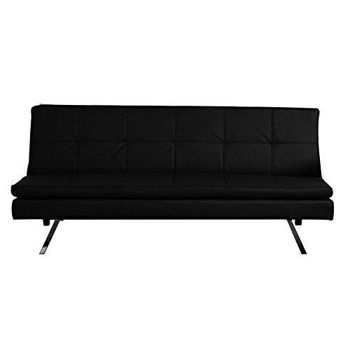 caro m bel 3 sitzer schlafsofa sofa isodora kunstleder schwarz mit doppelmatratze m bel24. Black Bedroom Furniture Sets. Home Design Ideas