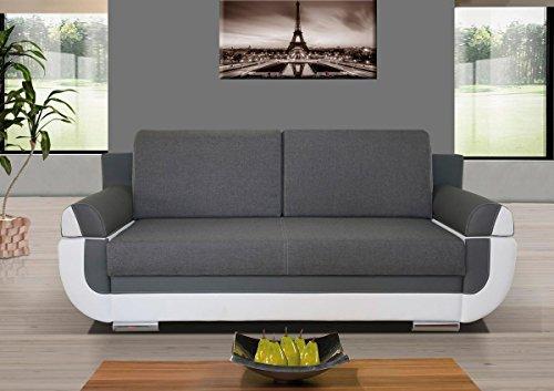 3er sofa hector mit staukasten und bettfunktion farbe grau wei abmessungen 204 x 90 cm b. Black Bedroom Furniture Sets. Home Design Ideas