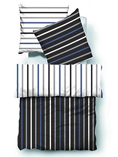 m bel24 4 teilig microfaser seersucker bettwsche weiss schwarz blau mit reiverschluss gestreift. Black Bedroom Furniture Sets. Home Design Ideas