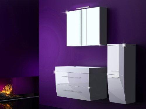 4 tlg badm bel set milano xl badezimmerm bel komplett set waschbeckenschrank 90 cm mit. Black Bedroom Furniture Sets. Home Design Ideas