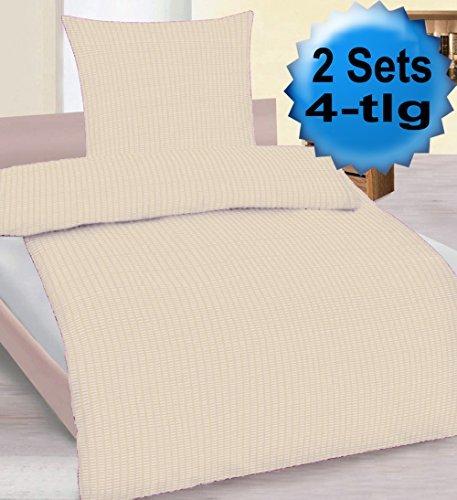 4-tlg. Seersucker Bettwäsche 2x 135x200 +80x80cm, hell beige, uni einfarbig, bügelfrei, Microfaser (60276)