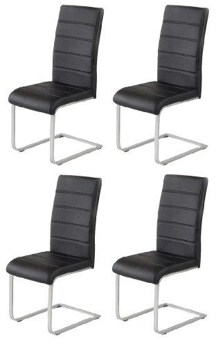 4 x design stuhl freischwinger jan piet 30 kunstleder schwarz neu jetzt 120 kg belastbar gestell. Black Bedroom Furniture Sets. Home Design Ideas