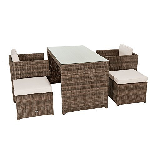 5 teiliges gartenm bel set moreno mit auflagen platzsparend kunstrattan braun beige m bel24. Black Bedroom Furniture Sets. Home Design Ideas