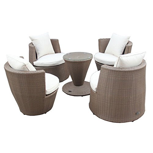 5 tlg gartenm bel set tisch sessel stapelbar kunst rattan hellbraun m bel24. Black Bedroom Furniture Sets. Home Design Ideas