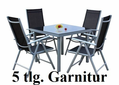 5tlg. Alu Gartenmöbel-Set Gartengarnitur Hochlehner Balkonmöbel-Set GM5 80x80SG