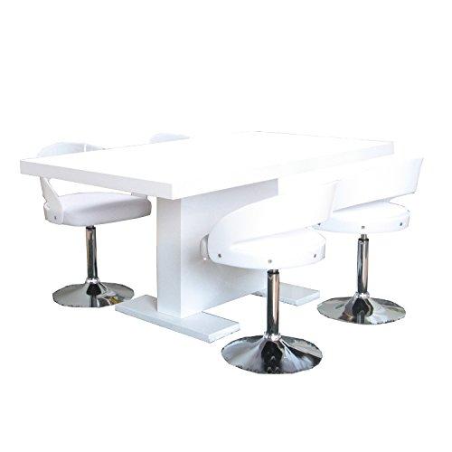 m bel24 m bel g nstig 5tlg essgruppe caletto sitzgruppe esstisch esszimmertisch tisch wei. Black Bedroom Furniture Sets. Home Design Ideas