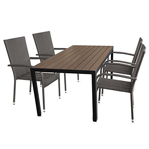 multistore 2002 5tlg gartengarnitur aluminium gartentisch. Black Bedroom Furniture Sets. Home Design Ideas