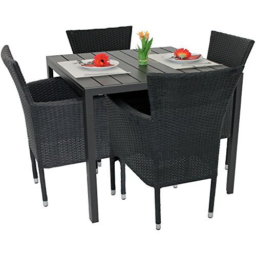 5tlg gartengarnitur balkonm bel set polywood aluminium tisch 90x90cm stapelbare polyrattan. Black Bedroom Furniture Sets. Home Design Ideas