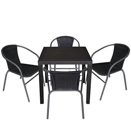 5tlg gartengarnitur balkonm bel set sitzgarnitur 79x79cm. Black Bedroom Furniture Sets. Home Design Ideas