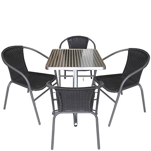 5tlg gartengarnitur balkonm bel terrassenm bel set sitzgruppe poly rattan stapelstuhl aluminium. Black Bedroom Furniture Sets. Home Design Ideas