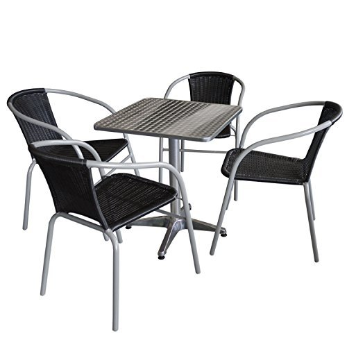 5tlg gartengarnitur bistrotisch 60x60cm aluminium 4x bistrostuhl polyrattanbespannung in. Black Bedroom Furniture Sets. Home Design Ideas