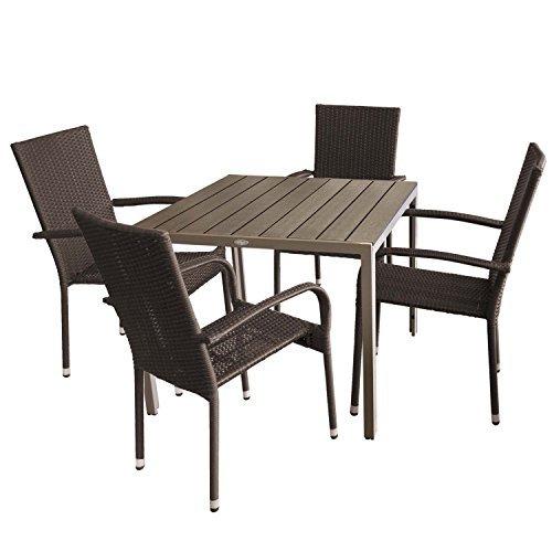 5tlg gartengarnitur gartentisch polywood 90x90cm 4x. Black Bedroom Furniture Sets. Home Design Ideas