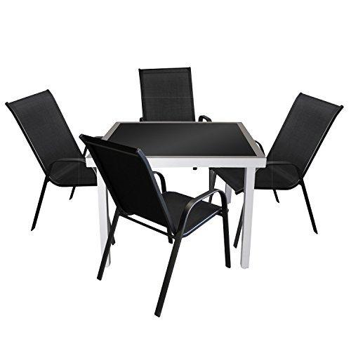 5tlg gartengarnitur glastisch 90x90cm silber schwarz 4x for Glastisch schwarz