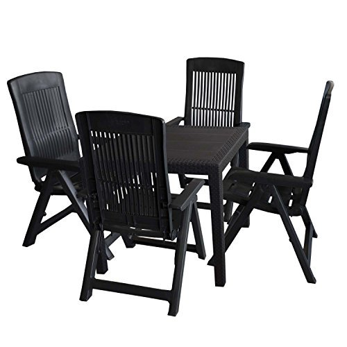 5tlg gartengarnitur kunststoff tisch rattan look 79x79cm 4x klappstuhl 5 fach verstellbar. Black Bedroom Furniture Sets. Home Design Ideas