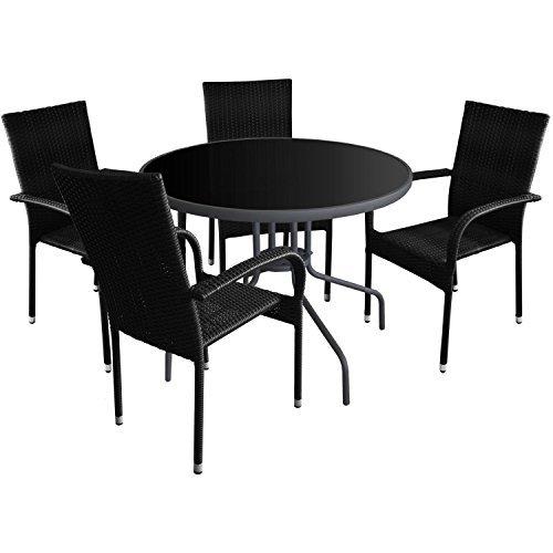 5tlg gartenm bel set glastisch 90cm 4x polyrattan gartenstuhl stapelstuhl gartengarnitur. Black Bedroom Furniture Sets. Home Design Ideas