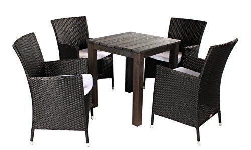 5tlg polyrattan holz sitzgruppe ancona sessel und tisch ca 67x67cm taupegrau sessel schwarz. Black Bedroom Furniture Sets. Home Design Ideas