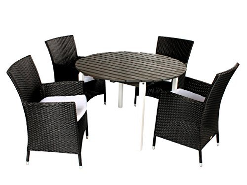 5tlg polyrattan holz sitzgruppe salento sessel und tisch rund ca 114 cm wei taupegrau. Black Bedroom Furniture Sets. Home Design Ideas