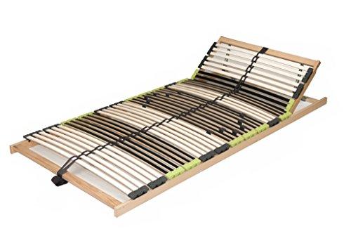 """7 Zonen Lattenrost aus Buche """"DaMi Relax KV"""" inkl. 6 fache Härteverstellung, mit Kopfverstellung, zerlegt 80 x 200 cm"""