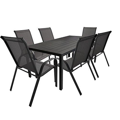 7tlg gartengarnitur aluminium polywood gartentisch 205x90cm stapelstuhl gartenstuhl stapelbar. Black Bedroom Furniture Sets. Home Design Ideas