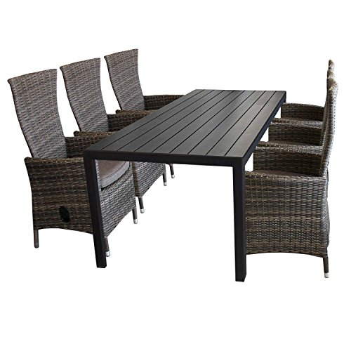 7tlg gartenm bel set aluminium polywood gartentisch 205x90cm 6x gartensessel polyrattan braun. Black Bedroom Furniture Sets. Home Design Ideas