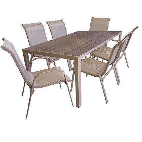 7tlg sitzgarnitur sitzgruppe gartenm bel set aluminium gartentisch mit polywood tischplatte. Black Bedroom Furniture Sets. Home Design Ideas