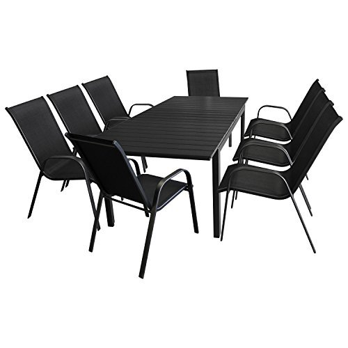 9tlg gartenm bel set aluminium ausziehtisch 160 210x95cm polywood tischplatte 8x. Black Bedroom Furniture Sets. Home Design Ideas