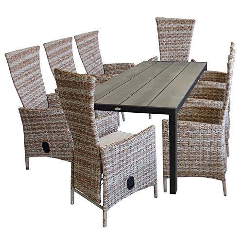 9tlg gartenm bel set aluminium polywood gartentisch 205x90cm 8x rattansessel polyrattan. Black Bedroom Furniture Sets. Home Design Ideas