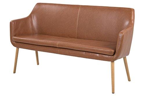 AC Design Furniture 63834 Sofabank Trine, Lederlook Vintage Cognac, Holzbein Eiche ölbehandelt