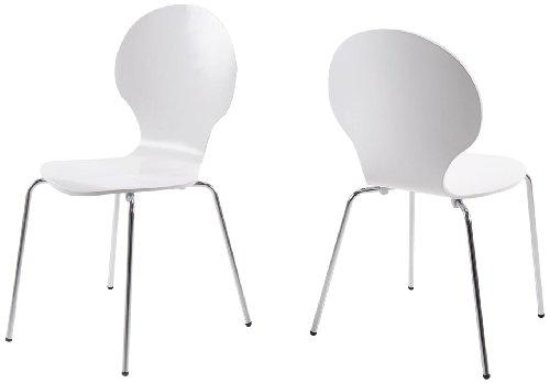 AC Design Furniture H000007133 Esszimmerstuhl 4-er Set Jacob, Design Klassiker, weiß