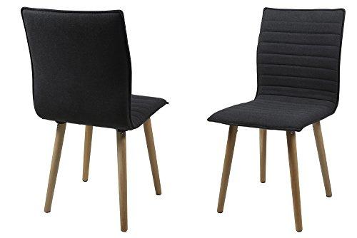 AC Design Furniture H000014088 Esszimmerstuhl 2-er Set Claus, Sitz/Rücken Gestell aus Eiche, Stoff, dunkelgrau