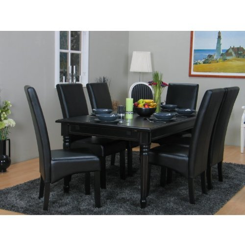 amaretta essgruppe tisch sitz gruppe esszimmer 8tlg schwarz antik patiniert m bel24. Black Bedroom Furniture Sets. Home Design Ideas
