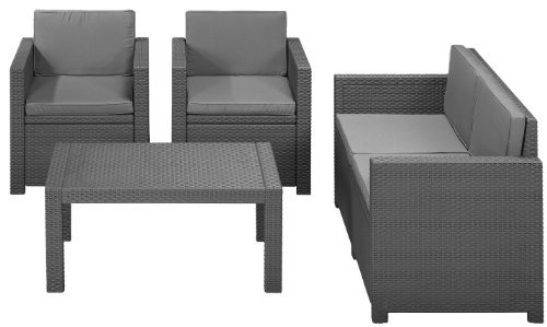 allibert 212142 lounge set victoria 2 sessel 1 sofa 1 tisch rattanoptik kunststoff. Black Bedroom Furniture Sets. Home Design Ideas