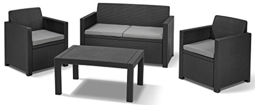 Allibert Lounge Set in Rattanoptik, Merano (2 Sessel, 1 Sofa, 1 Tisch), stabiles Kunststoff, grafit
