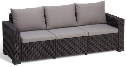 allibert lounge sofa balkon california grau 3 sitzer lounge sofa rattan m bel24. Black Bedroom Furniture Sets. Home Design Ideas