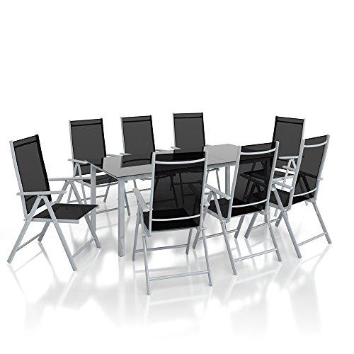 OSKAR Alu Sitzgarnitur Gartenmöbel Set 9-Teilig Garnitur Sitzgruppe 1 Tisch 190x87 + 8 Stühle