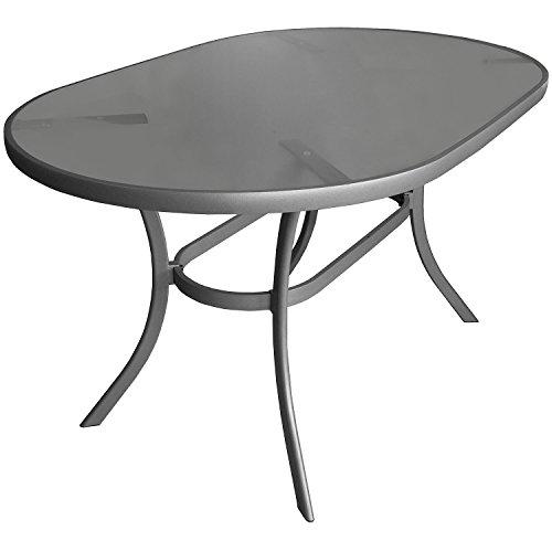 Multistore 2002 Aluminium Gartentisch Glastisch 140x90cm Oval Beistelltisch Terrassentisch