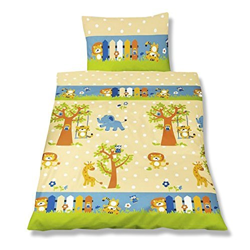 aminata kids bunte bettw sche 100x135 cm kinder jungen m dchen tiere baumwolle rei verschluss. Black Bedroom Furniture Sets. Home Design Ideas