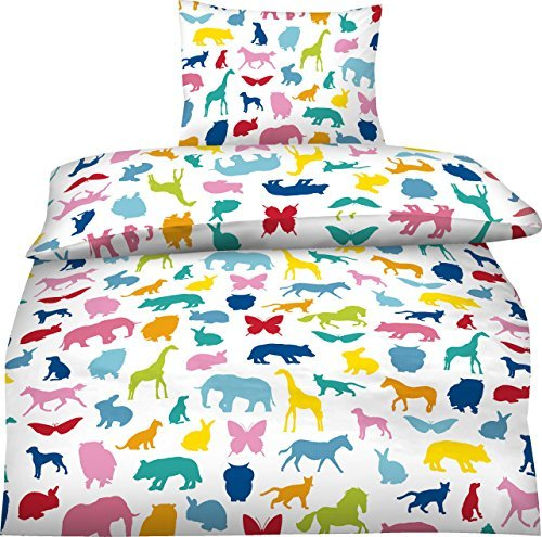 aminata kids bunte jungen m dchen kinder bettw sche 135x200 baumwolle wilde tiere zoo tiere. Black Bedroom Furniture Sets. Home Design Ideas