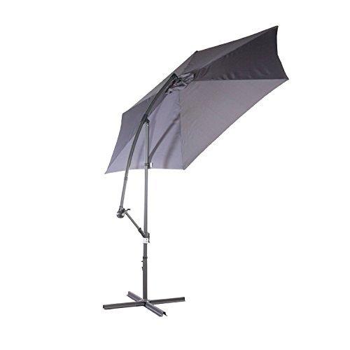 Sonnenschirm / Ampelschirm in grau Gartenschirm schwenkbar Sonnenschutz UV50+