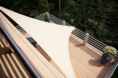 Aquagart ® Sonnensegel Sandfarben Sonnenblende Sonnenschutz Windschutz Sonnendach verschiedene Formen (Dreieck 5mx5mx5m)