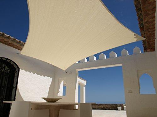 Aquagart ® Sonnensegel Sandfarben Sonnenblende Sonnenschutz Windschutz Sonnendach verschiedene Formen (Quadrat 5mx5m)