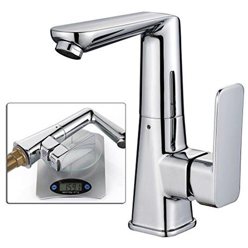 Auralum® 360° Schwenkbar Waschtischarmatur L-Auslauf Einhebelmischer Wasserhahn Waschbeckenarmatur für Badezimmer Type 07