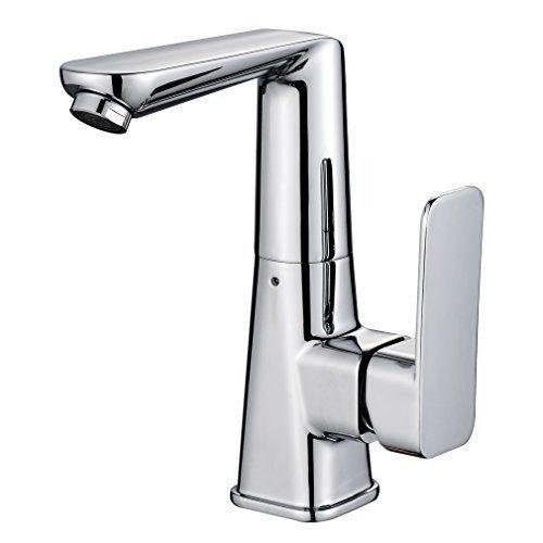 BONADE Elegant Hochwertig Chrom Einhebel- Mischbatterie Verchromt Wasserhahn Armatur Waschtischarmatur Chrom Wasserfall Einhandmischer für Bad Badezimmer Waschbecken
