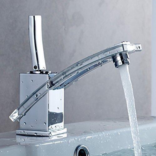 Auralum® PMMA Einhebel Mischbatterie Wasserhahn Armatur Waschtischarmatur Wasserfall Einhandmischer für Bad Badezimmer Waschbecken